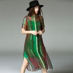 Y:Q - Color-Block Silk Shirt Dress