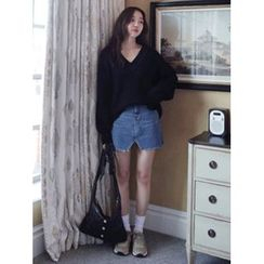 maybe-baby - Slit-Front Denim Skirt