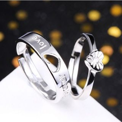 Zundiao - Sterling Silver Heart Pattern Couple Ring