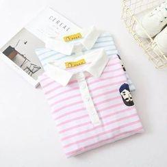 Vateddy - Striped Short Sleeve Polo Dress