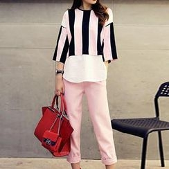 Romantica - Set: Paneled Stripe Top + Slim-Fit Pants