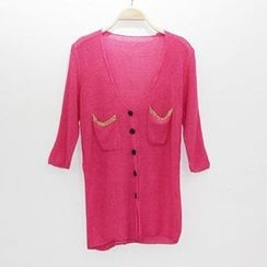 Coralie - Golden Trim Knit Cardigan