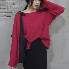 時尚麻豆家 - 純色長袖T恤