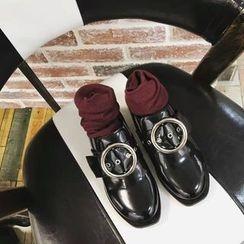 安若 - 飾扣粗跟樂福鞋