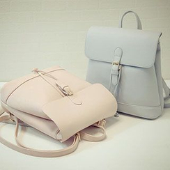 Hase Babe - Drawstring Faux Leather Backpack