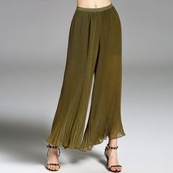 Y:Q - Pleated Wide-Leg Pants