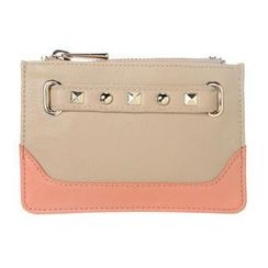 ans - Studded Color-Block Zip Card Holder
