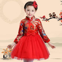 Little Princess - Kids Mandarin Collar Mini Prom Dress