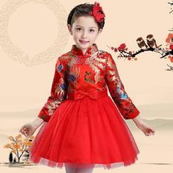 Little Princess - 儿童中式领迷你礼服裙
