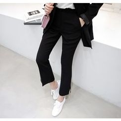 Miamasvin - Slit-Hem Boot-Cut Dress Pants