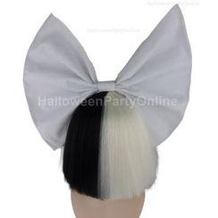 Party Wigs - 万圣节派对假发 - SIA 黑色和白色假发配白色蝴蝶结