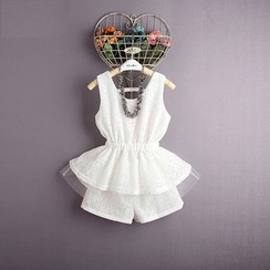 Kidora - Kids Set: Lace Sleeveless Peplum Top + Shorts