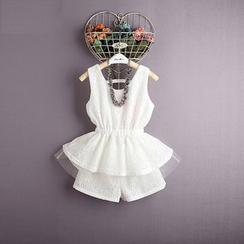 Kidora - 小童套装: 蕾丝无袖荷叶腰上衣 + 短裤