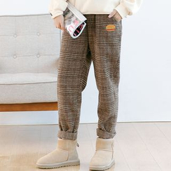 Forest Girl - Burger Embroidered Plaid Baggy Pants