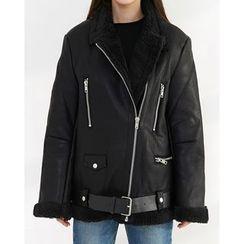 Someday, if - Belted Faux-Shearling Biker Jacket