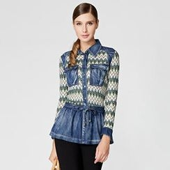 O.SA - Knit-Panel Drawstring-Waist Denim Blouse