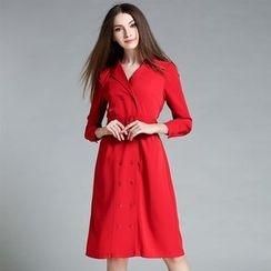 Cherry Dress - Long-Sleeve Double Breasted Dress