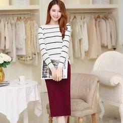 Flower Creek - Set: Striped-Top + Slit-Back Pencil Skirt