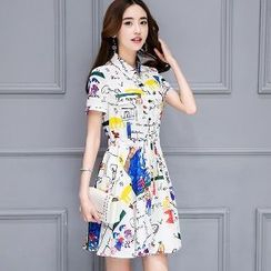 Romantica - Short-Sleeve Printed Dress