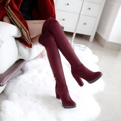 JY Shoes - Over the Knee Block Heel Boots