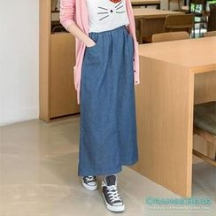 OrangeBear - Dual-Pocket Denim Long Skirt