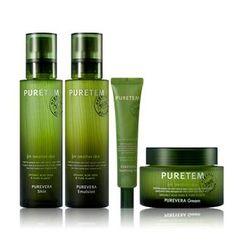 Kwailnara - Puretem Purevera Set: Skin 130ml + Emulsion 130ml + Cream 50ml + Soothing Gel 25ml + Skin 15ml + Emulsion 15ml + Cream 5ml + Essence 5ml