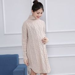 Ohayo - Maternity High Neck Cable-Knit Long Sweater