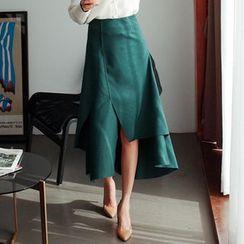 Cherryville - Asymmetric-Hem A-Line Long Skirt