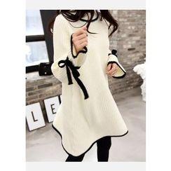 DEEPNY - Beribboned-Sleeve Contrast-Piping Knit Dress