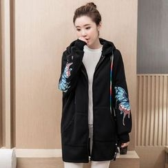 Ohayo - Maternity Butterfly Print Long Zip Hoodie