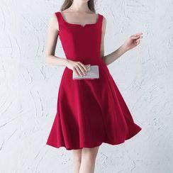 Luxury Style - Plain Sleeveless A-Line Dress