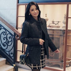 Seoul Fashion - Stand-Collar Wool Blend Jacket