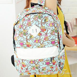 B.B. HOUSE - Owl-Print Canvas Backpack