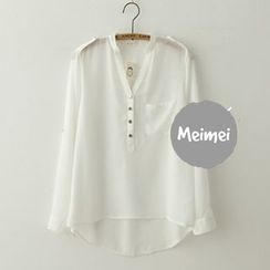 Meimei - V-Neck Chiffon Blouse