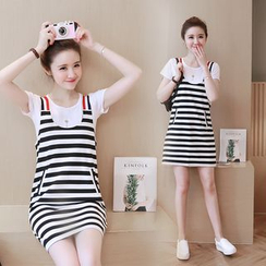 Kotoba - Set: Short-Sleeve T-Shirt + Striped Jumper Dress