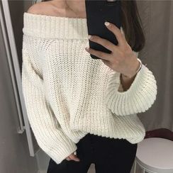 Zzang Girls - Off Shoulder Chunky Sweater