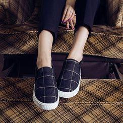 chuu - 內增高格子輕便鞋