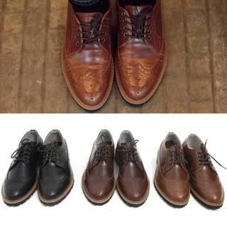 JOGUNSHOP - Faux-Leather Wing-Tip Oxfords