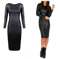 Hotprint - Long-Sleeve Bodycon Dress