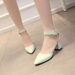 Charming Kicks - Ankle Strap Pointed Pumps