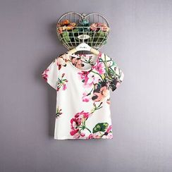 Kidora - Kids Floral Print Short-Sleeve Chiffon Top with Headband