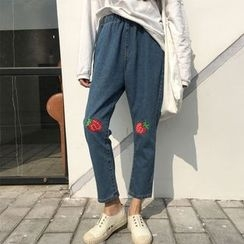YOSH - Strawberry Embroidered Baggy Jeans