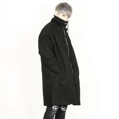Rememberclick - Wool-Blend Zip-Up Long Coat
