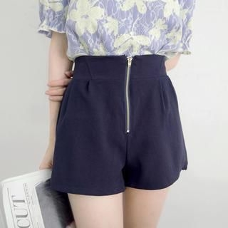 Tokyo Fashion - Zip-Front High-Waist Chiffon Shorts