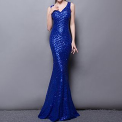 Posh Bride - Sequined Sleeveless Mermaid Evening Gown