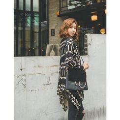 GUMZZI - Geometric Pattern Long Cardigan
