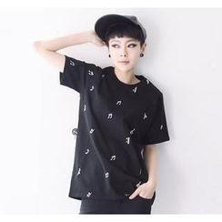 Love Seoul - Music Note Print T-Shirt