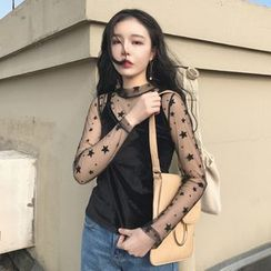 Bloombloom - Set: Star Long Sleeve Mesh Top + Spaghetti Strap Velvet Top