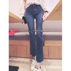 YANSAE - Distressed Boots-Cut Jeans