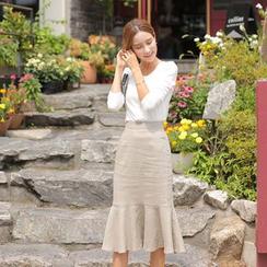 Cherryville - Linen Blend Midi Mermaid Skirt